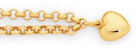 9ct-Gold-19cm-Belcher-Heart-Charm-Bracelet on sale