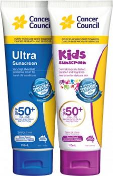 Cancer-Council-Sunscreen-SPF50-110mL-Range on sale