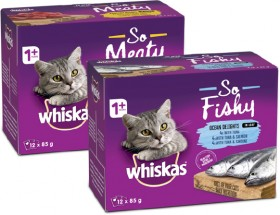 Whiskas-12-Pack-Oh-So-Cat-Food-Pouch-Varieties-85g on sale