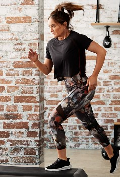Michelle-Bridges-Mesh-Insert-Tee-and-Print-Leggings on sale