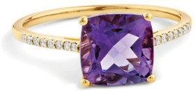 NEW-Ring-with-Natural-Amethyst-Diamonds-in-10ct-Yellow-Gold on sale