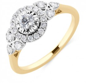 Evermore-Engagement-Ring-with-0.50-Carat-TW-of-Diamonds-in-10ct-Yellow-White-Gold on sale