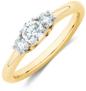 Three-Stone-Engagement-Ring-with-12-Carat-TW-of-Diamonds-in-10ct-Yellow-Gold on sale
