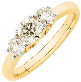 Three-Stone-Engagement-Ring-with-1-Carat-TW-of-Diamonds-in-14ct-Yellow-Gold on sale