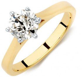 Solitaire-Engagement-Ring-with-1-Carat-Diamond-in-14ct-Yellow-White-Gold on sale