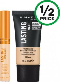 Rimmel-Lasting-Radiance-Concealer-7ml-or-Lasting-Finish-Matte-Foundation-30ml on sale
