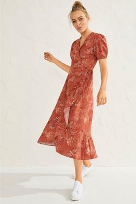 Emerge-Linen-Blend-Midi-Wrap-Dress on sale