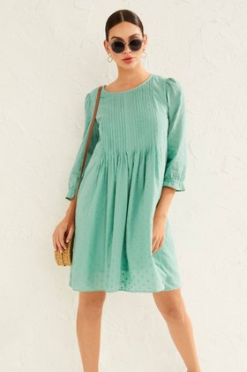 Emerge-Embroidered-Pintuck-Dress on sale