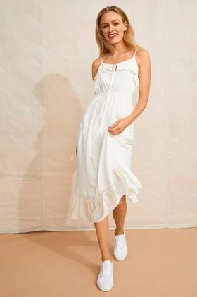 Emerge-Dobby-Frill-Detail-Midi-Dress on sale