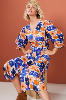 Emerge-Puff-Sleeve-Midi-Dress on sale