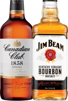 Canadian-Club-Whisky-or-Jim-Beam-White-Label-Bourbon-700mL on sale