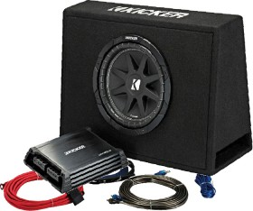 Kicker-10-Subwoofer-In-Custom-Slim-Enclosure-300W-2-Channel-Amplifier-250W-Pack on sale