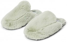 Brilliant-Basics-Womens-Fluffy-Mule-Scuff-Green on sale
