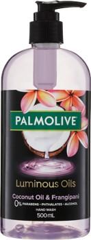 NEW-Palmolive-Luminous-Oils-Hand-Wash-Coconut-Oil-Frangipani-500ml on sale