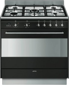 Smeg-90cm-Dual-Fuel-Upright-Cooker-Black on sale