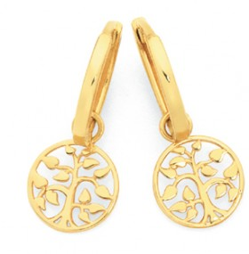 9ct-Gold-Tree-of-Life-Drop-Huggie-Earrings on sale