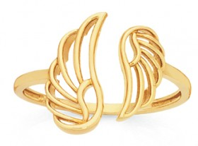 9ct-Gold-Angel-Wings-Dress-Ring on sale