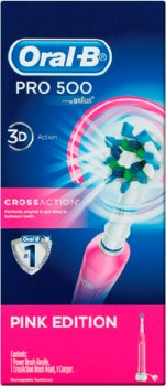 Oral-B-Pro-500-Pink-Crossaction-Electric-Toothbrush-Powered-by-Braun-1ea on sale