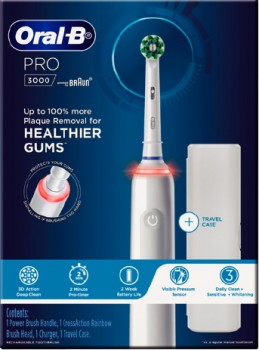 NEW-Oral-B-Pro-3000-White-Electric-Toothbrush-1ea on sale