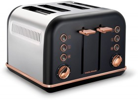 NEW-Morphy-Richards-Rose-Gold-Accents-4-Slice-Toaster-Black on sale