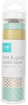 NEW-Craftsmart-8-x-3m-Mint-and-Gold-Washi-Tape on sale