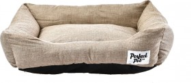 Perfect-Pet-Rectangular-Bolstered-Hessian-linen-Bed-61cm on sale