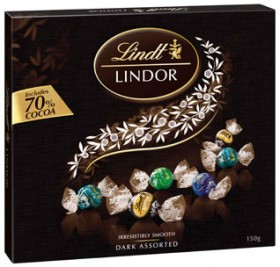 Lindt-Lindor-Dark-Assorted-Chocolates-Box-150g on sale