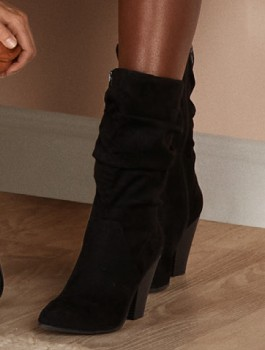me-Microsuede-Rouche-Boots-Black on sale
