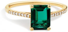 NEW-Ring-with-Created-Emerald-Diamond-in-10ct-Gold on sale