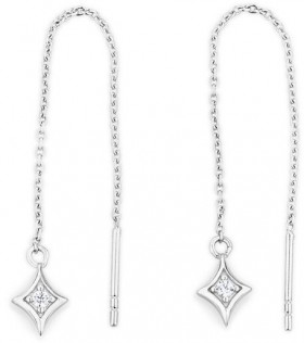 Threader-Earrings-with-Cubic-Zirconia-in-Sterling-Silver on sale