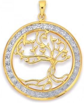 9ct-Gold-Cubic-Zirconia-Tree-of-Life-Pendant on sale