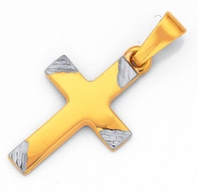 9ct-Gold-Two-Tone-16mm-Diagonal-Ends-Cross-Pendant on sale