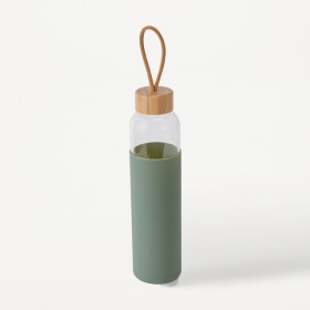 650ml-Glass-Drink-Bottle-with-Olive-Green-Silicone-Wrap on sale