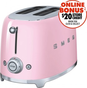 Smeg-50s-Retro-Style-2-Slice-Toaster-Pink on sale