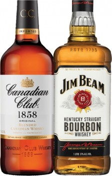 Canadian-Club-Whisky-or-Jim-Beam-White-Label-Bourbon-1-Litre on sale