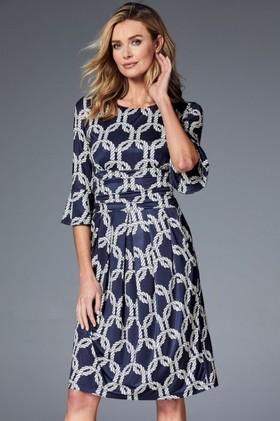 Kaleidoscope-Fluted-Cuff-Dress on sale