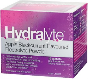 Hydralyte-Apple-Blackcurrant-Flavoured-Electrolyte-Powder-10-Sachets on sale