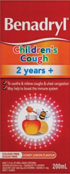 Benadryl-Childrens-Cough-2-years-200mL on sale
