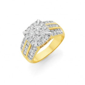 9ct-Gold-Diamond-Cushion-Cluster-Ring on sale
