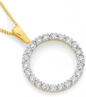 9ct-Gold-Diamond-Circle-Pendant on sale