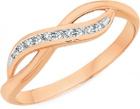 9ct-Rose-Gold-Diamond-Crossover-Ring on sale