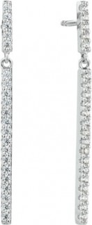 Bar-Drop-Earrings-with-Cubic-Zirconia-In-Sterling-Silver on sale