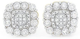 9ct-Gold-Two-Tone-Diamond-Cushion-Cluster-Stud-Earrings on sale