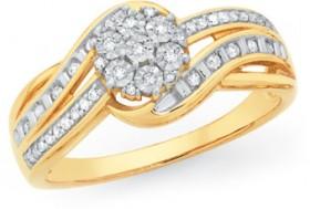 9ct-Gold-Diamond-Flower-Cluster-Swirl-Shoulder-Ring on sale