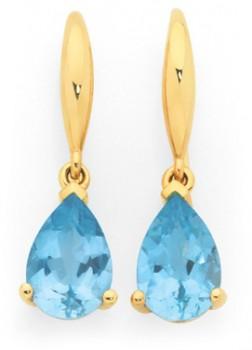 9ct-Gold-Sky-Blue-Topaz-Pear-Drop-Earrings on sale