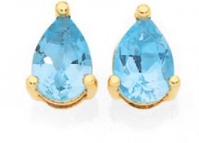 9ct-Gold-Sky-Blue-Topaz-Pear-Stud-Earrings on sale