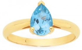 9ct-Gold-Sky-Blue-Topaz-Pear-Ring on sale