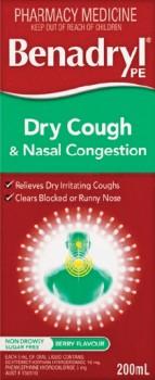 Benadryl-PE-Dry-Cough-Nasal-Congestion-200mL on sale