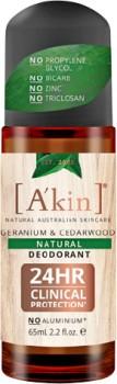Akin-Roll-On-Natural-Deodorant-Geranium-Cedarwood-65mL on sale
