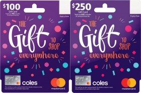 10-off-100-250-Coles-Gift-Mastercard-Gift-Cards on sale